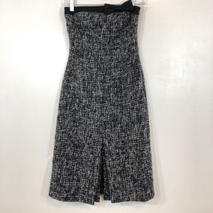 Express Tweed Strapless Bow Midi Dress